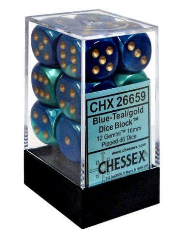 Dados Gemini Blue-Teal/gold Chessex -...