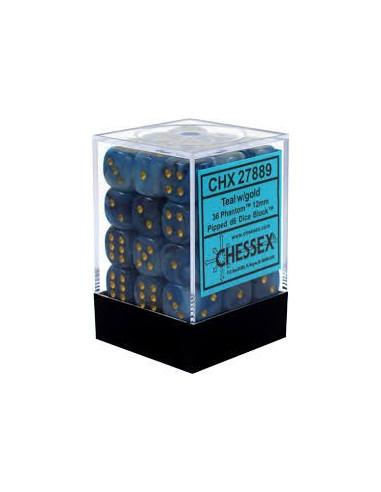 Dados Chessex: Phantom: D6 12mm Teal...