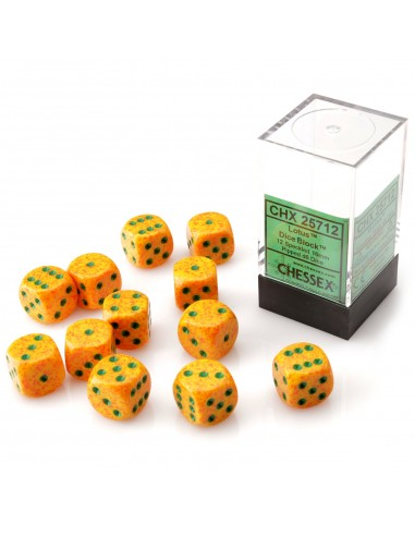 Dados Chessex: Speckled Lotus - 16 mm D6 Yellow/Green (12pzs)